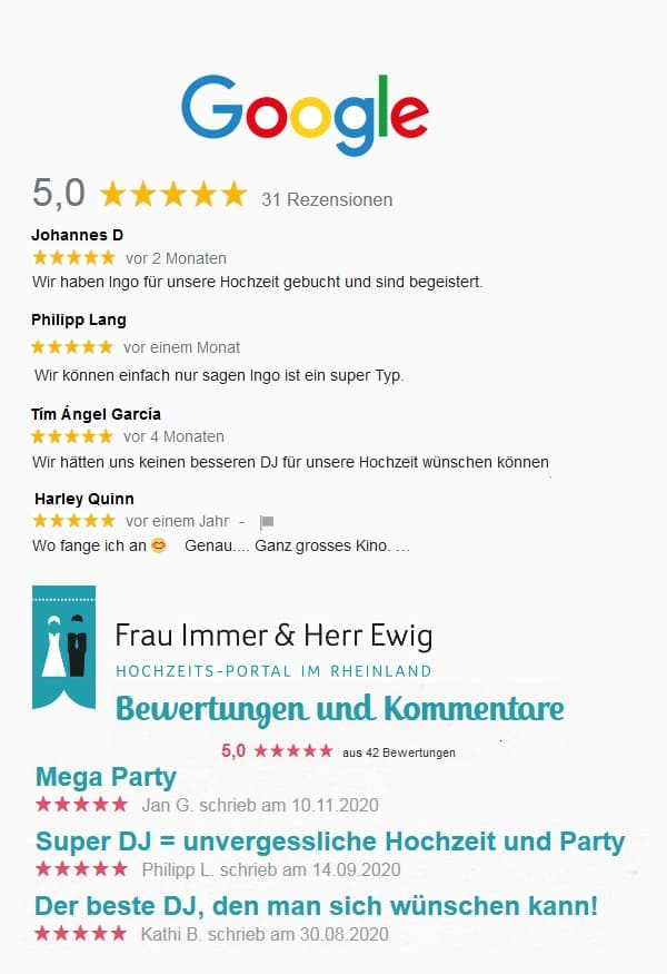DJ Köln DJ Bonn DJ Düsseldorf beste Bewertungen
